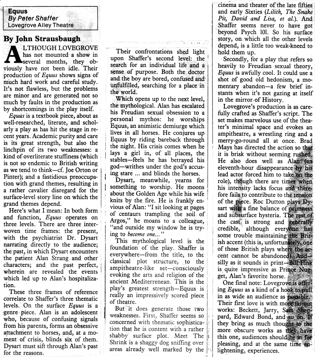 equus play the photo above is from the baltimore city paper it is a review written by strausbaugh john 10 1979 reviewing the performance of equus on theaters